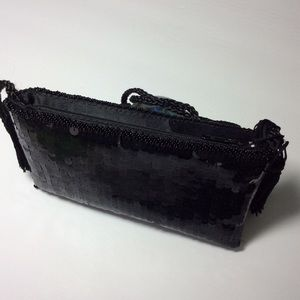 Bags - Black Sequined Evening Bag With Tassels NWOT